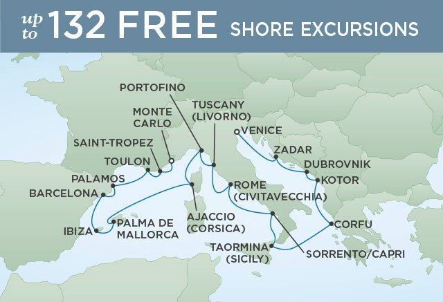 Regent Cruises | 17-Nights from Venice to Monte-Carlo Cruise Iinerary Map