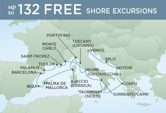Regent Cruises | 17-Nights from Rome to Venice Cruise Iinerary Map