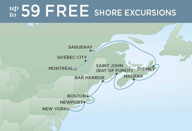 Regent Cruises | 10-Nights from Montreal to New York Cruise Iinerary Map