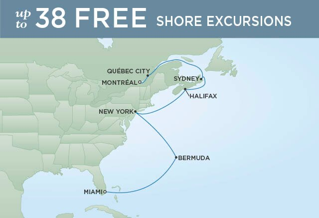 Regent Cruises | 12-Nights from Montreal to Miami Cruise Iinerary Map