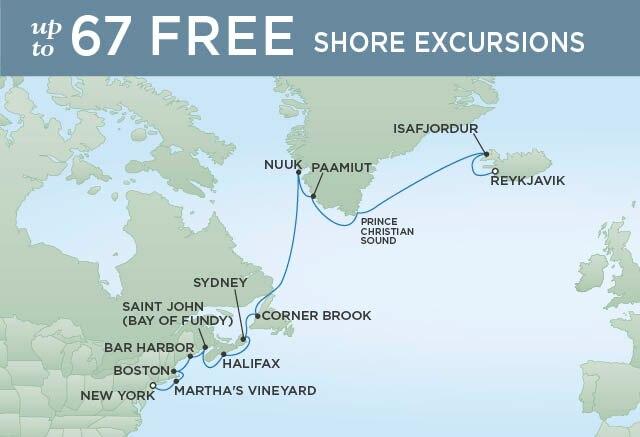 Regent Cruises | 16-Nights from New York to Reykjavik Cruise Iinerary Map