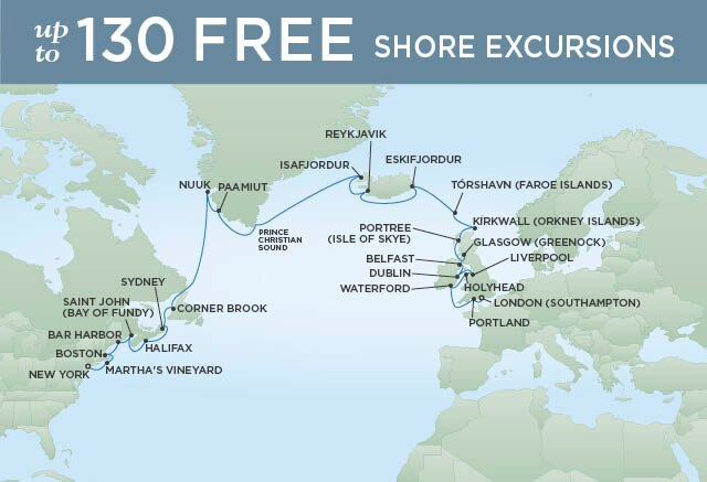 Regent Cruises | 30-Nights from New York to London Cruise Iinerary Map