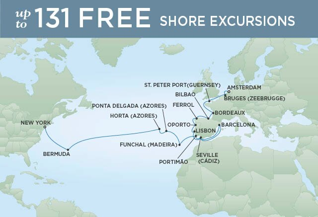 Regent Cruises | 28-Nights from Amsterdam to New York Cruise Iinerary Map