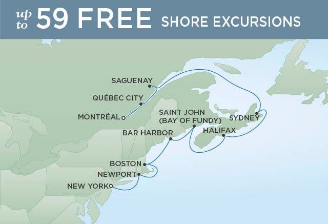 Regent Cruises | 10-Nights from Montreal to New York Cruise Iinerary Map