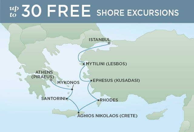 Regent Cruises | 7-Nights from Istanbul to Athens Cruise Iinerary Map