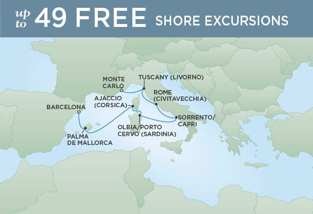 Regent Cruises | 7-Nights from Barcelona to Provence Cruise Iinerary Map