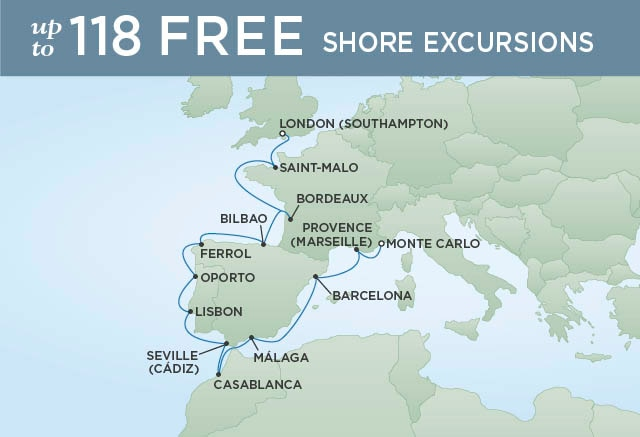 Regent Cruises | 15-Nights from Provence to London Cruise Iinerary Map