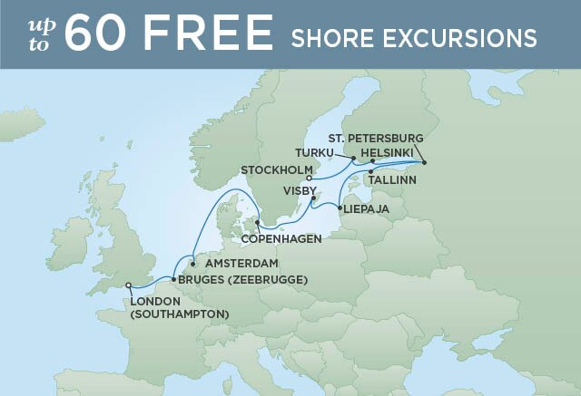 Regent Cruises | 12-Nights from London to Stockholm Cruise Iinerary Map
