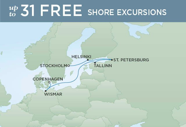 Regent Cruises | 7-Nights from Stockholm to Copenhagen Cruise Iinerary Map