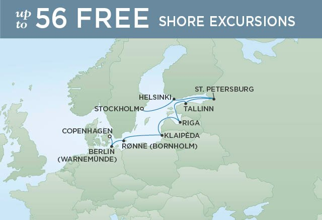 Regent Cruises | 10-Nights from Copenhagen to Stockholm Cruise Iinerary Map