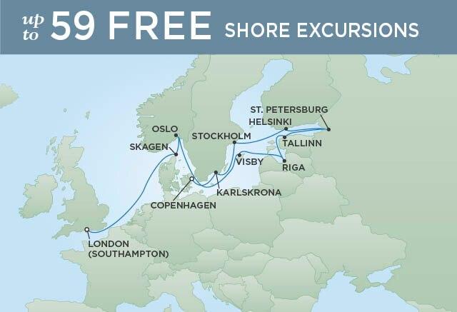 Regent Cruises | 14-Nights from London to Copenhagen Cruise Iinerary Map