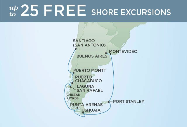 Regent Cruises | 16-Nights from Buenos Aires to Santiago Cruise Iinerary Map