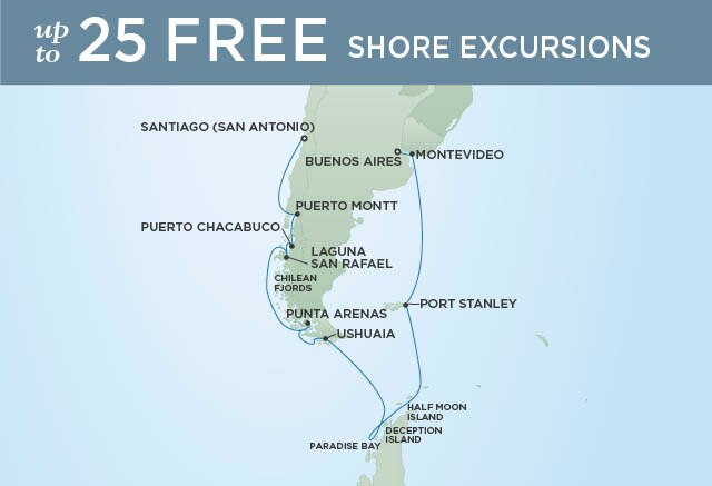 Regent Cruises | 19-Nights from Santiago to Buenos Aires Cruise Iinerary Map