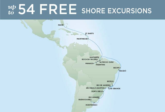 Regent Cruises | 31-Nights from Buenos Aires to Miami Cruise Iinerary Map