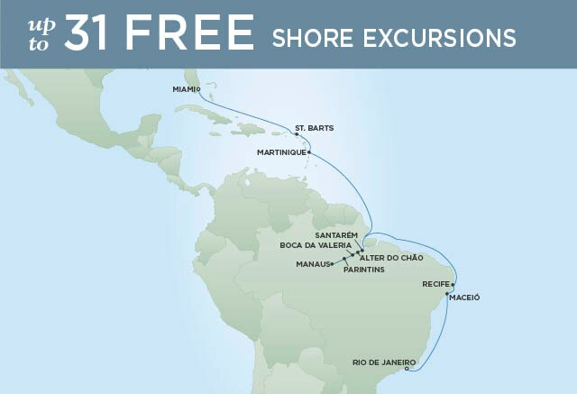 Regent Cruises | 21-Nights from Rio de Janeiro to Miami Cruise Iinerary Map