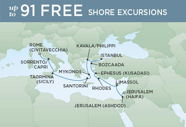 Regent Cruises | 15-Nights from Jerusalem to Rome Cruise Iinerary Map