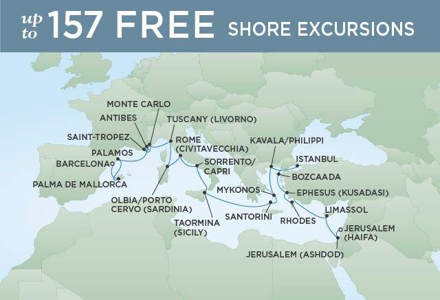 Regent Cruises | 23-Nights from Jerusalem to Barcelona Cruise Iinerary Map