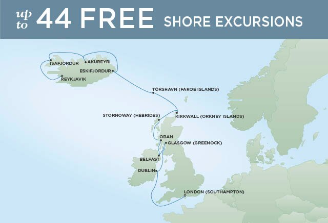 Regent Cruises | 14-Nights from London to Reykjavik Cruise Iinerary Map