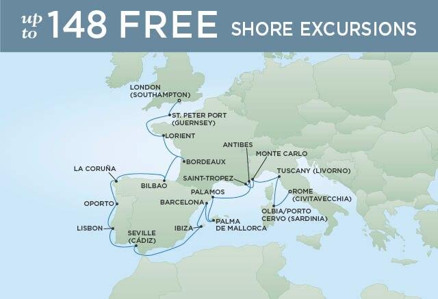 Regent Cruises | 20-Nights from Rome to London Cruise Iinerary Map