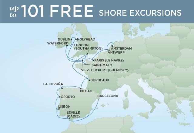 Regent Cruises | 20-Nights from Amsterdam to Barcelona Cruise Iinerary Map
