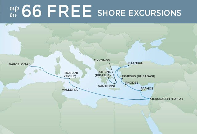 Regent Cruises | 15-Nights from Barcelona to Athens Cruise Iinerary Map