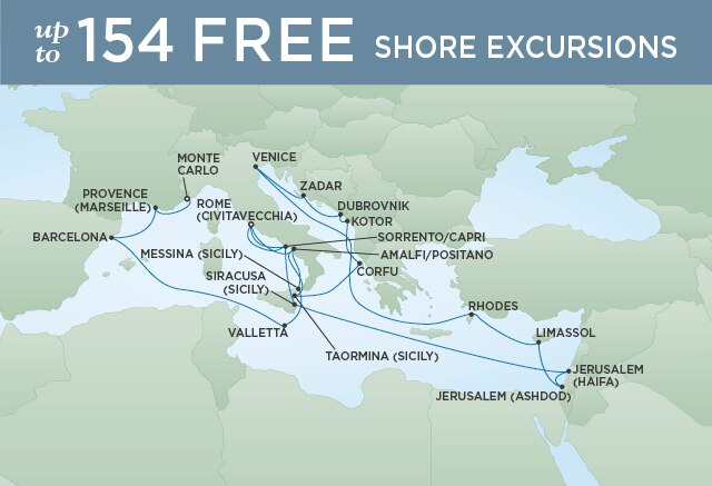 Regent Cruises | 26-Nights from Monte-Carlo to Rome Cruise Iinerary Map