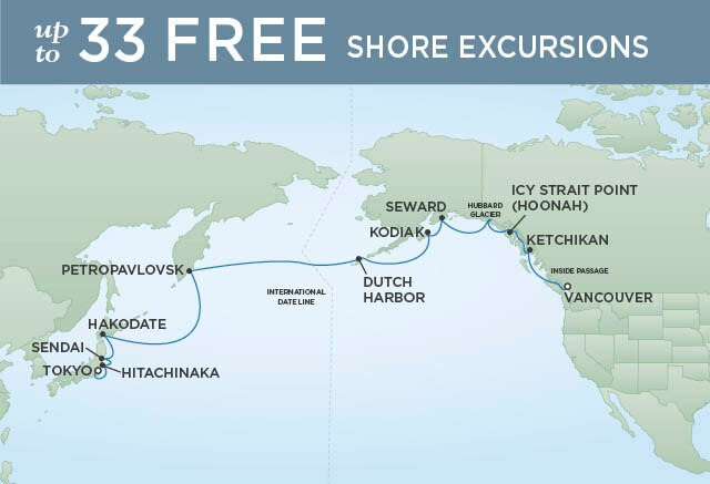 Regent Cruises | 19-Nights from Vancouver to Tokyo Cruise Iinerary Map
