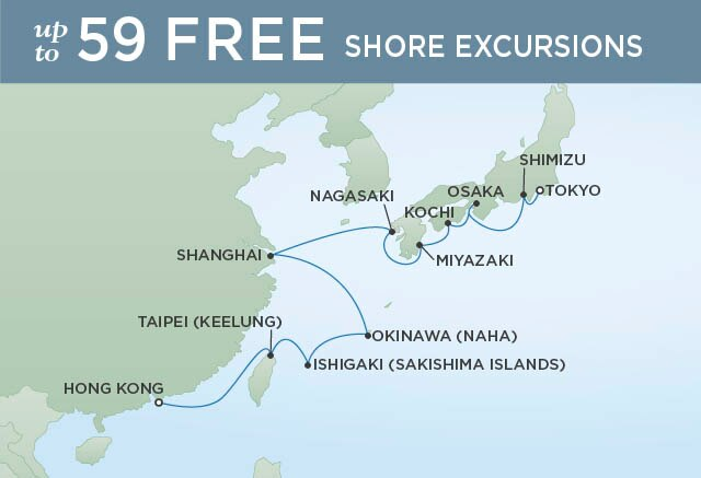 Regent Cruises | 16-Nights from Tokyo to Hong Kong Cruise Iinerary Map