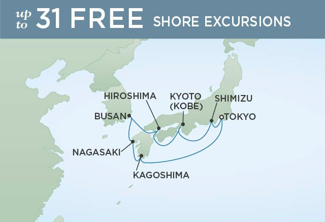 Regent Cruises | 10-Nights Roundtrip from Tokyo Cruise Iinerary Map