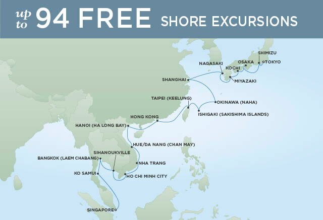 Regent Cruises | 30-Nights from Tokyo to Singapore Cruise Iinerary Map