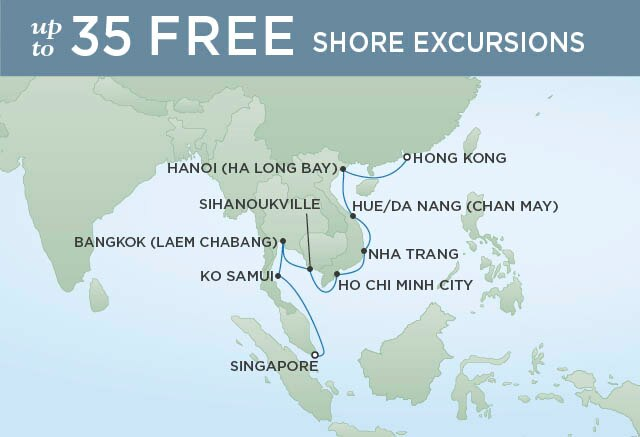 Regent Cruises | 14-Nights from Hong Kong to Singapore Cruise Iinerary Map