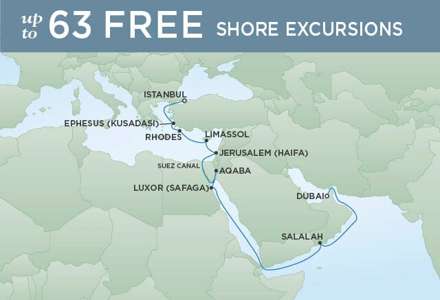 Regent Cruises | 19-Nights from Dubai to Istanbul Cruise Iinerary Map