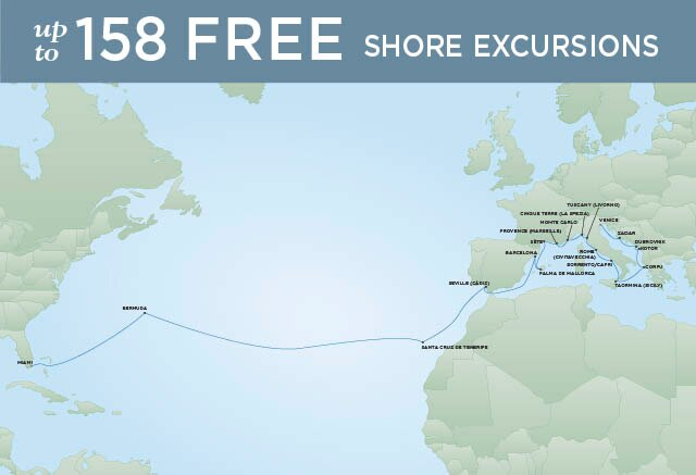 Regent Cruises | 29-Nights from Venice to Miami Cruise Iinerary Map