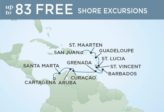 Regent Cruises | 12-Nights from San Juan to Cartagena Cruise Iinerary Map