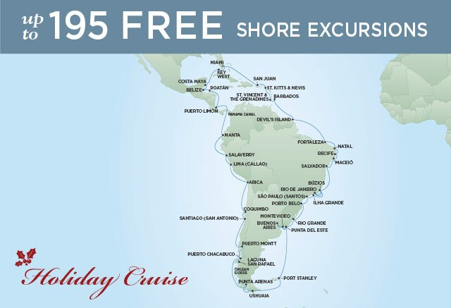 Regent Cruises | 62-Nights Roundtrip from Miami Holiday Cruise Iinerary Map