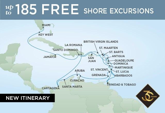 Regent Cruises | 30-Nights from Miami to Bridgetown Cruise Iinerary Map
