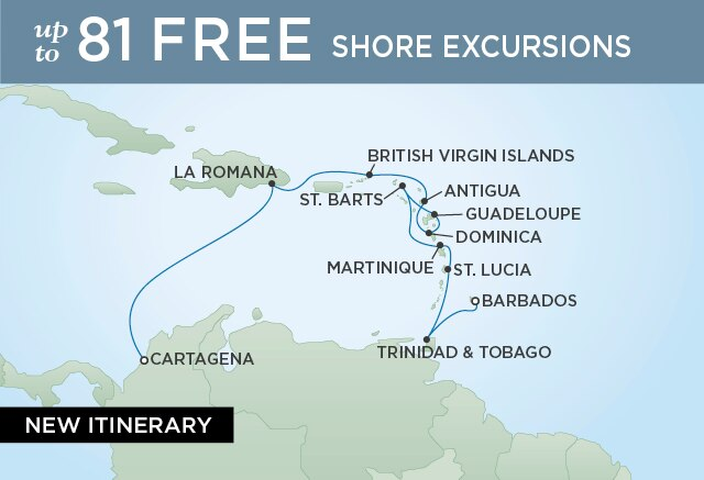 Regent Cruises | 11-Nights from Cartagena to Miami Cruise Iinerary Map