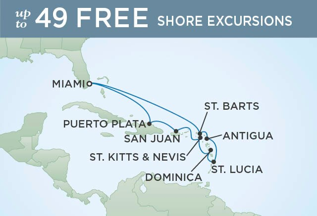 Regent Cruises | 11-Nights Roundtrip from Miami Cruise Iinerary Map