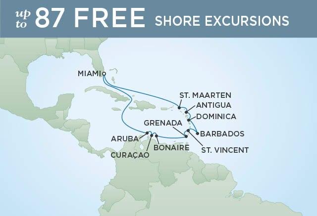 Regent Cruises | 14-Nights Roundtrip from Miami Cruise Iinerary Map