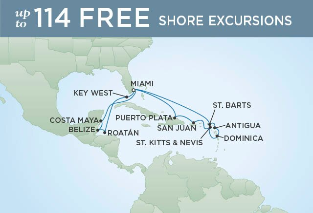 Regent Cruises | 17-Nights Roundtrip from Miami Cruise Iinerary Map