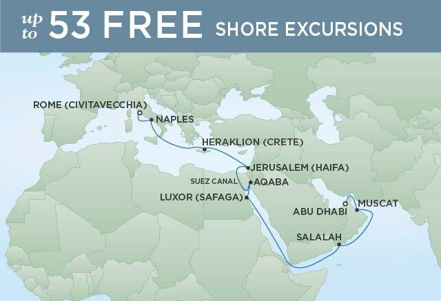 Regent Cruises | 20-Nights from Rome to Abu Dhabi Cruise Iinerary Map