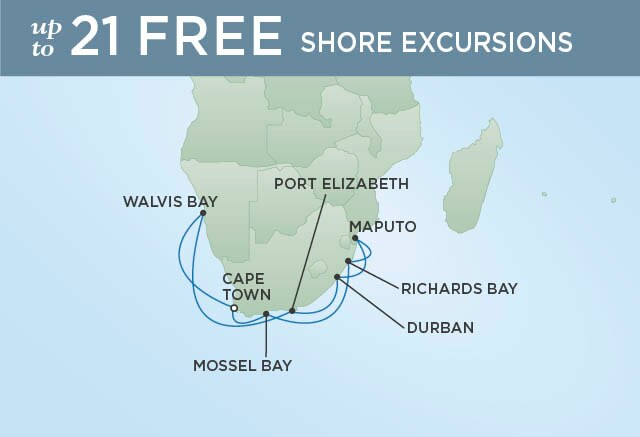 Regent Cruises | 15-Nights Roundtrip from Cape Town Cruise Iinerary Map