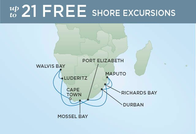 Regent Cruises | 16-Nights Roundtrip from Cape Town Cruise Iinerary Map