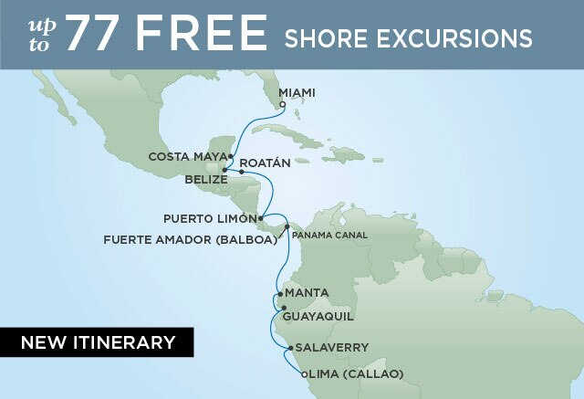Regent Cruises | 14-Nights from Lima to Miami Cruise Iinerary Map