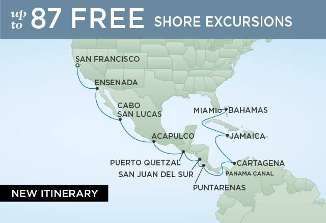 Regent Cruises | 18-Nights from San Francisco to Papeete Cruise Iinerary Map