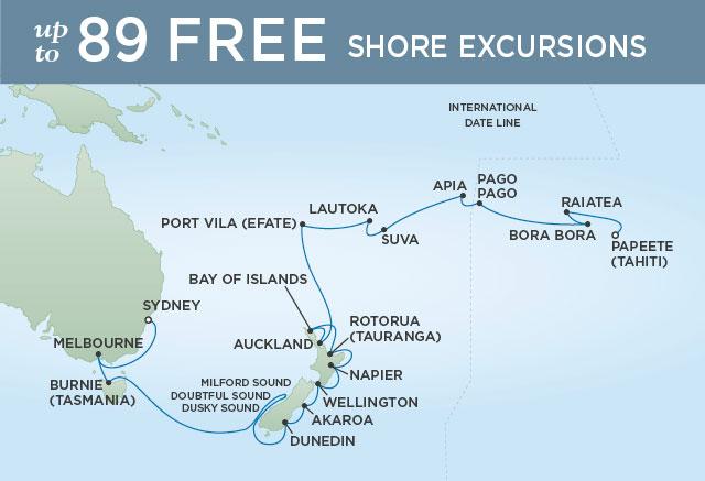 Regent Cruises | 30-Nights from Papeete to Sydney Cruise Iinerary Map
