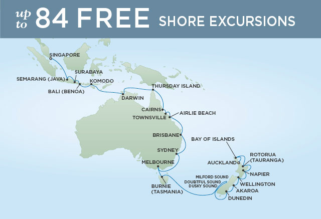 Regent Cruises | 35-Nights from Auckland to Singapore Cruise Iinerary Map