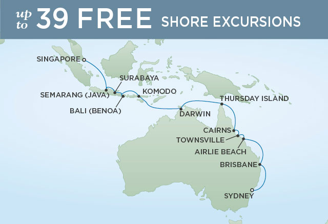 Regent Cruises | 21-Nights from Sydney to Singapore Cruise Iinerary Map