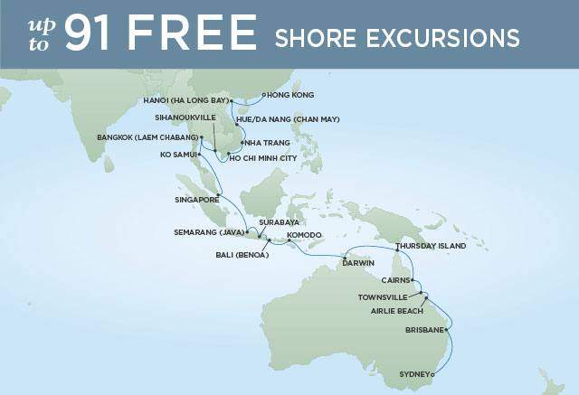 Regent Cruises | 37-Nights from Sydney to Hong Kong Cruise Iinerary Map