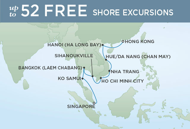 Regent Cruises | 16-Nights from Singapore to Hong Kong Cruise Iinerary Map